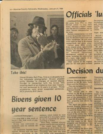 A plea bargain during the Tennessee trial, 1980.