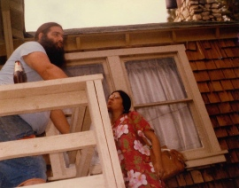 "Bob ""the Bear"" Hite and his wife at their cabin near Cactus Flats, California, about 1977. Bear was the lead singer/harmonicist for Canned Heat. Dad knew Bear from his Topanga Canyon days."