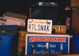 Dad's customized license plate when I went to get his things out of storage in Big Bear City, California, 2001.