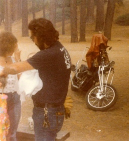"""Crazy Dave"" christening my sister Katrina Brennan in Big Bear Lake, California, 1979."