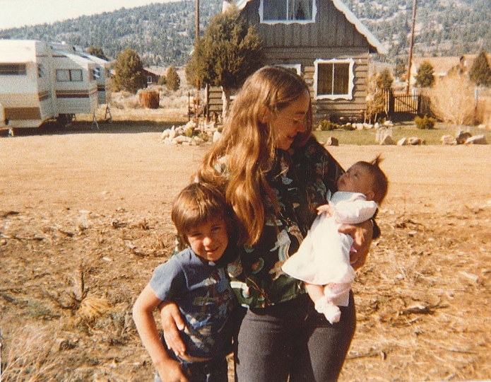Mom, my sister Katrina Brenna, and me in Big Bear City, California, 1979.