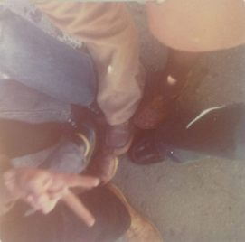 Before selfies, there was peace, love, and group foot shots. 1974.
