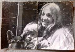 Me with Mom and our dog poochie in Big Bear Lake, California, 1974.
